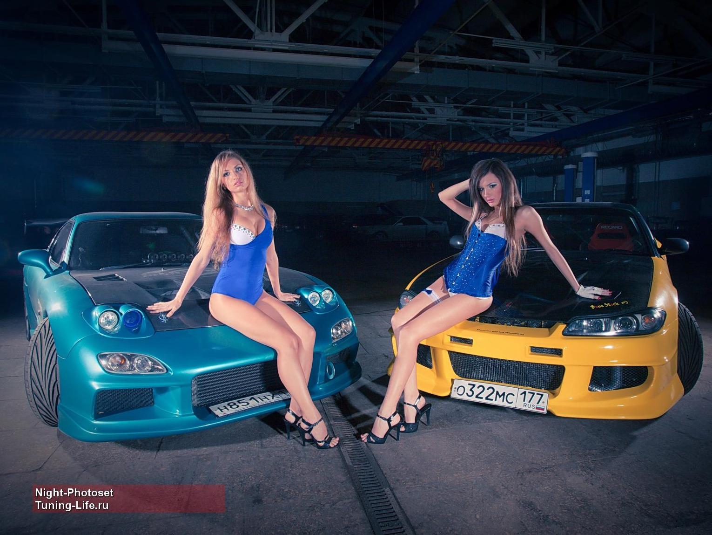 Mazda RX-7 FD & Nissan Silvia S15, zdjęcia z dziewczynami przy samochodach