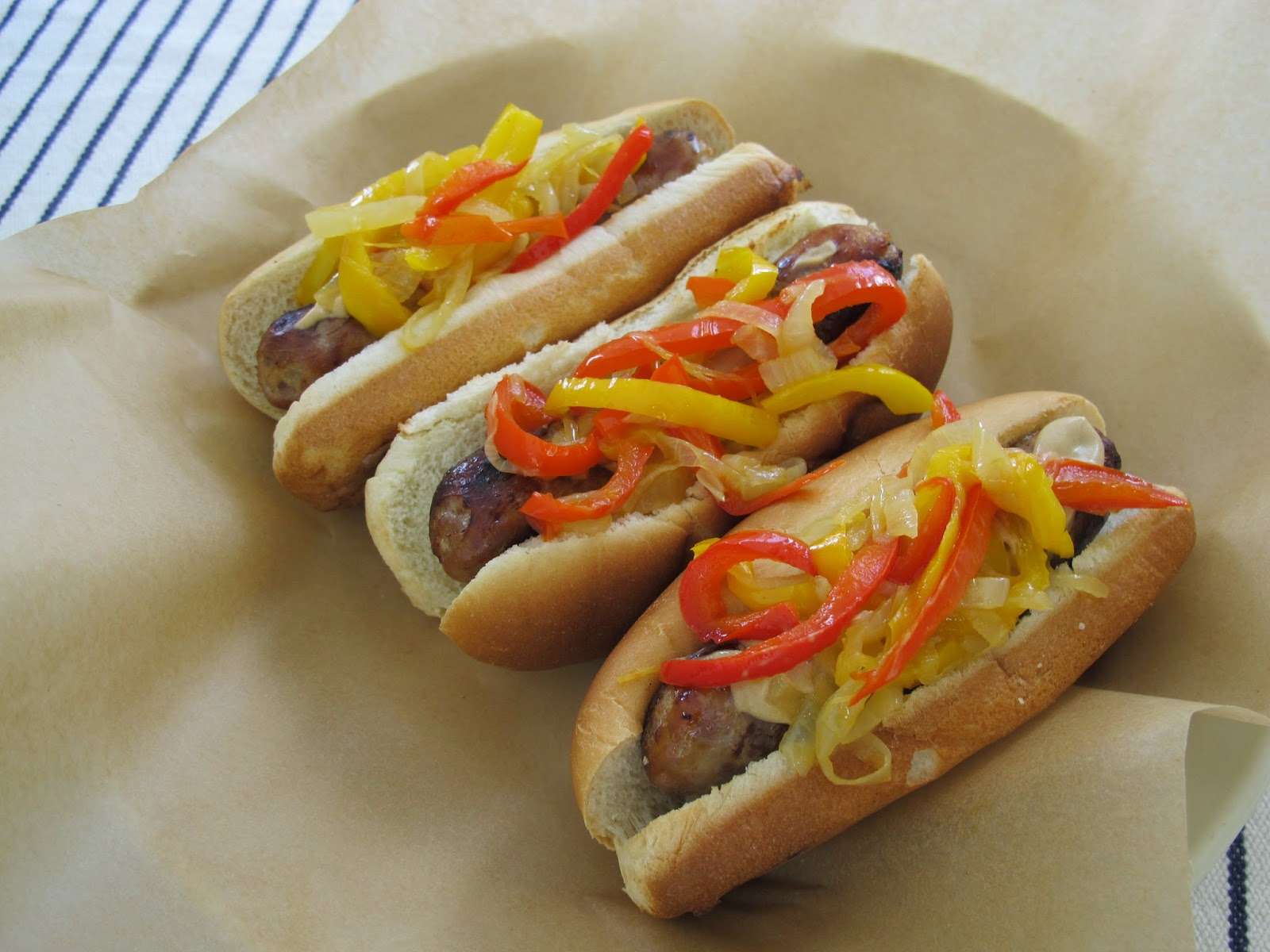 Grilled Beer Brats with Peppers & Onions