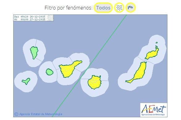 Avisos amarillos por calima y fuertes vientos en Canarias, sábado 26 diciembre