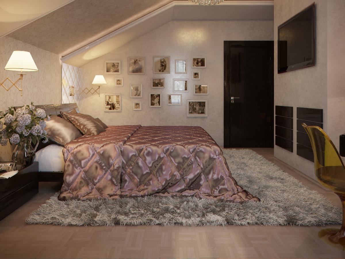 Мансардные спальни дизайн