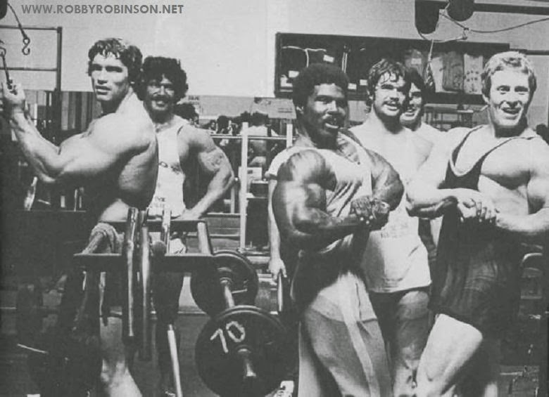 "Arnold Schwarzenegger, Ed Corney, Robby Robinson, Denny Gable and Ken Waller Photo shoot during training and filming of Pumping Iron at Gold's CA, 1975 Read about RR's training and life experience, about other legends of Golden Era of bodybuilding and what really happened behind the scenes of Weider's empire in RR's BOOK ""The BLACK PRINCE; My Life in Bodybuilding: Muscle vs. Hustle"" ● www.robbyrobinson.net/books.php ●"