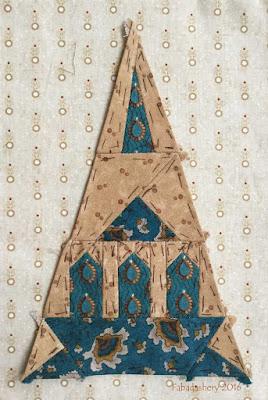 Dear Jane Quilt - Border Triangle Block  LR10 Megan's Cathedral