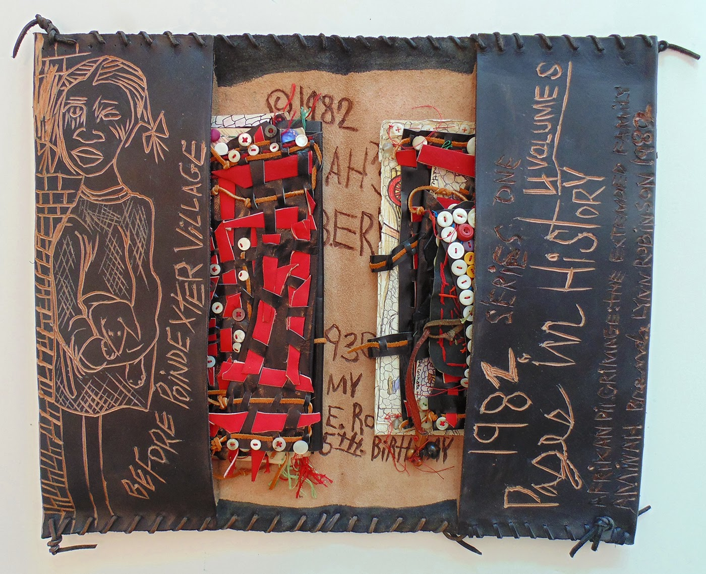 Inspirational Aminah Brenda Lynn Robinson Aminah us Blackberry Patch Before Poindexter Village Carved dyed and sewn leather with five insets insets are