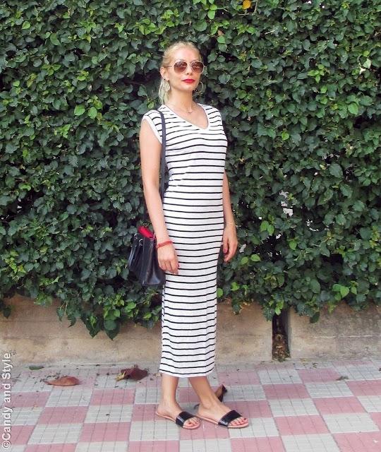 AviatorShades+StripedDress+BlackSlides+HighPonytail+RedLips - Lilli Candy and Style Fashion Blog