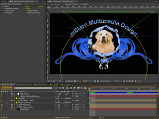 The final composite of the MGM-style film open in Adobe After Effects.