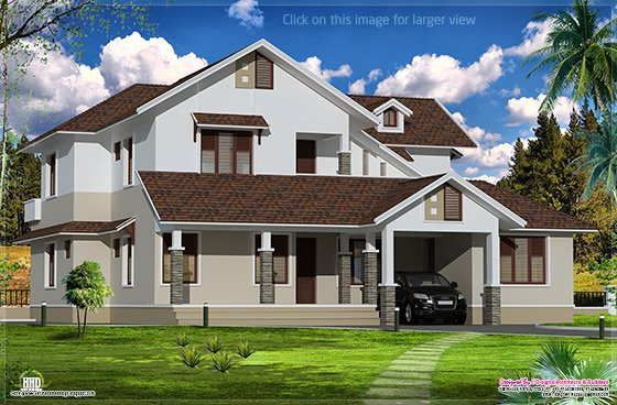 Sloping roof villa exterior elevation home kerala plans for Sloped roof house plans in india