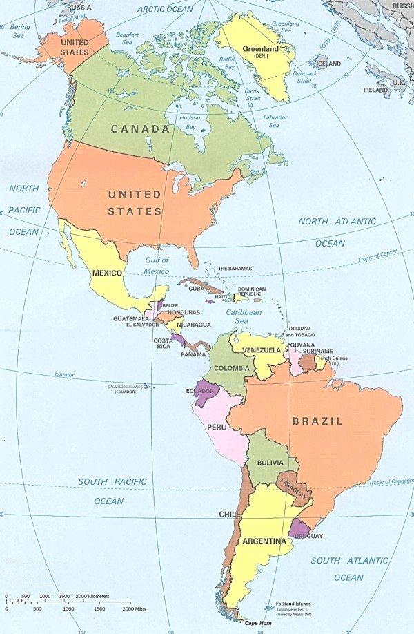 por tres subcontinentes america del norte america central y america