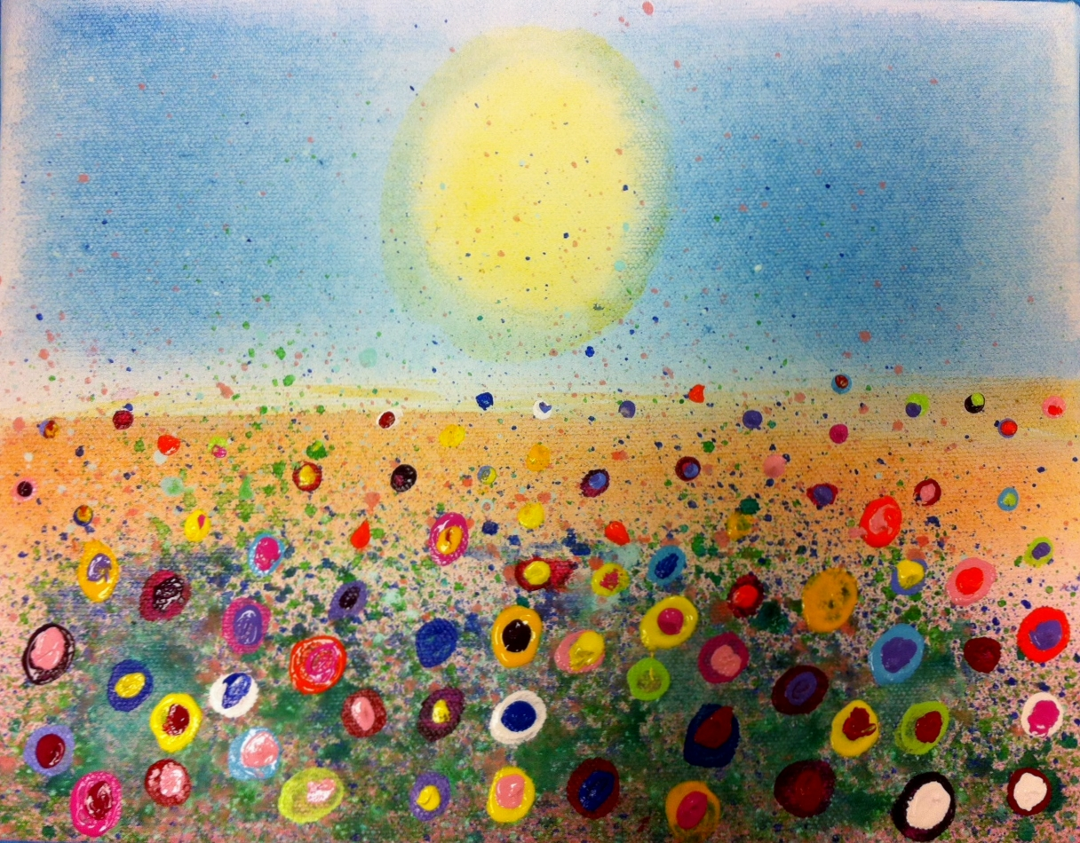 fun splatter floral paintings kids art class - Fun Pictures To Paint