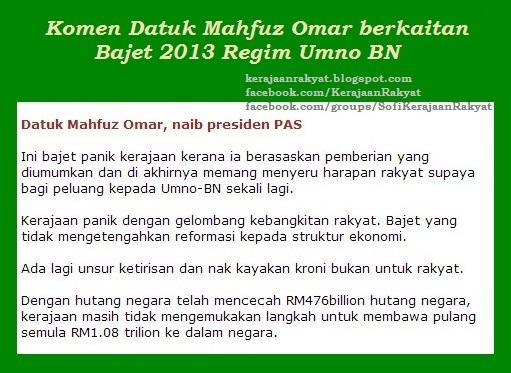 Bajet 2013 oleh regim Umno BN: Satu lagi temberang Syaitan