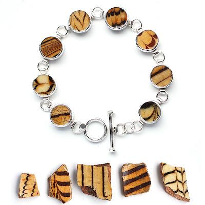 Staffordshire combed slipware bracelet by Tania Covo