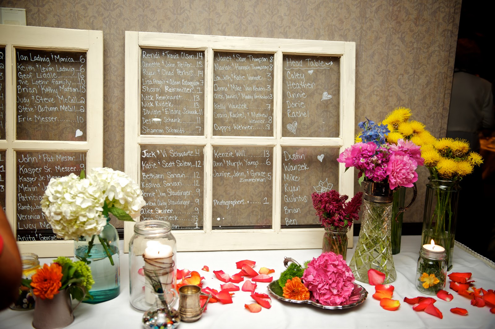 i used old window panes that d and i found in a barn painted them and wrote our guests names on them they are rustic and original and free - Window Frame Wall Art