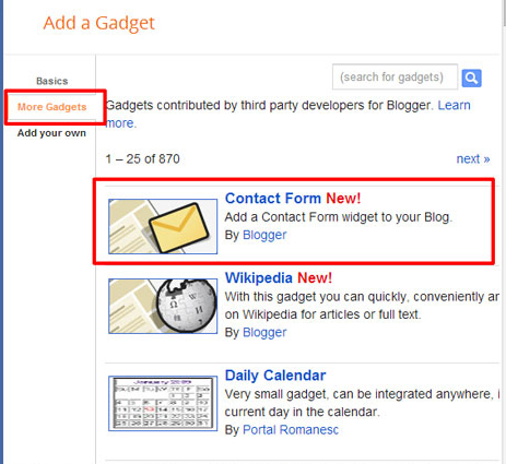 Contact Form in blogger gallery