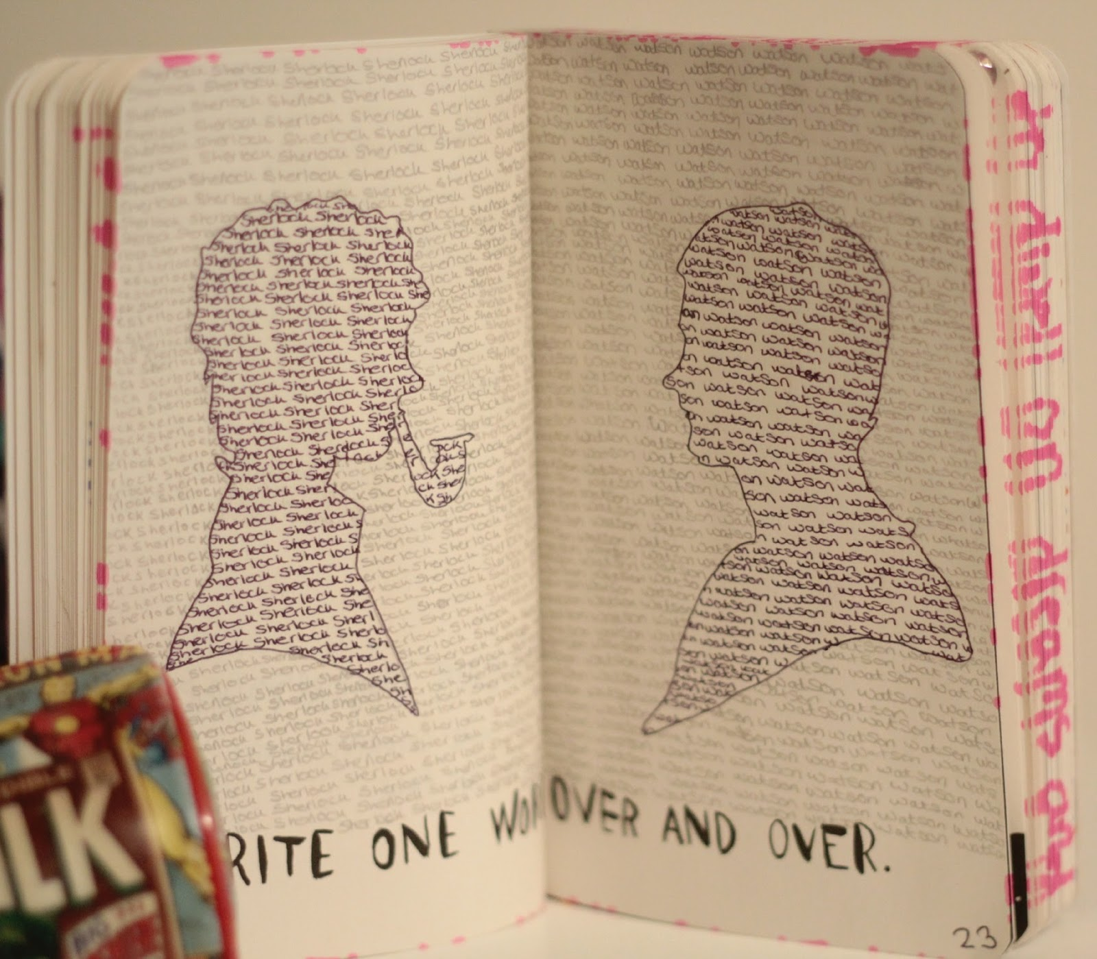 write one word over and over again, wreck it journal with sherlock and watson