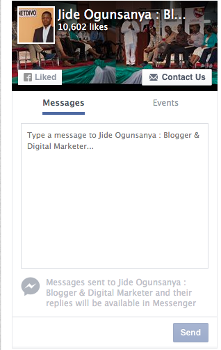 messages tab in facebook like box