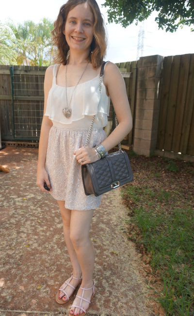 Summer Sate Night Outfit RM Love Bag metallic lace skirt cream ruffle cami