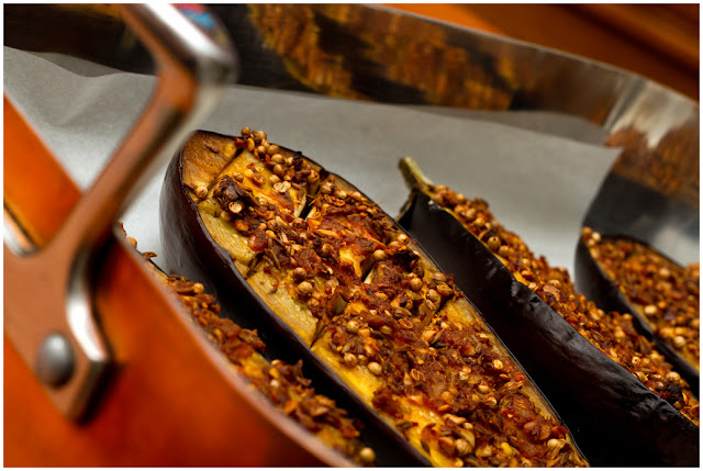 A photograph of Aubergine with Chermoula, as they came out of the oven.