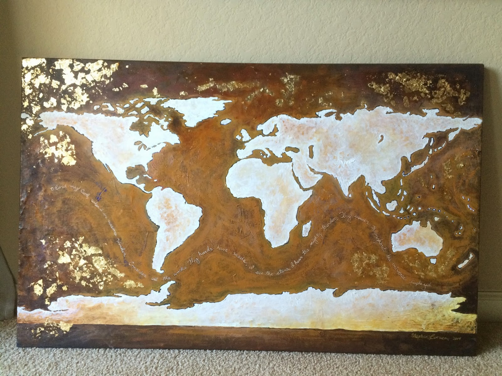 Stephen lursen art january 2015 custom world map with gold leaf sold gumiabroncs