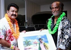 Rajini suprise visits in Mohanlal party