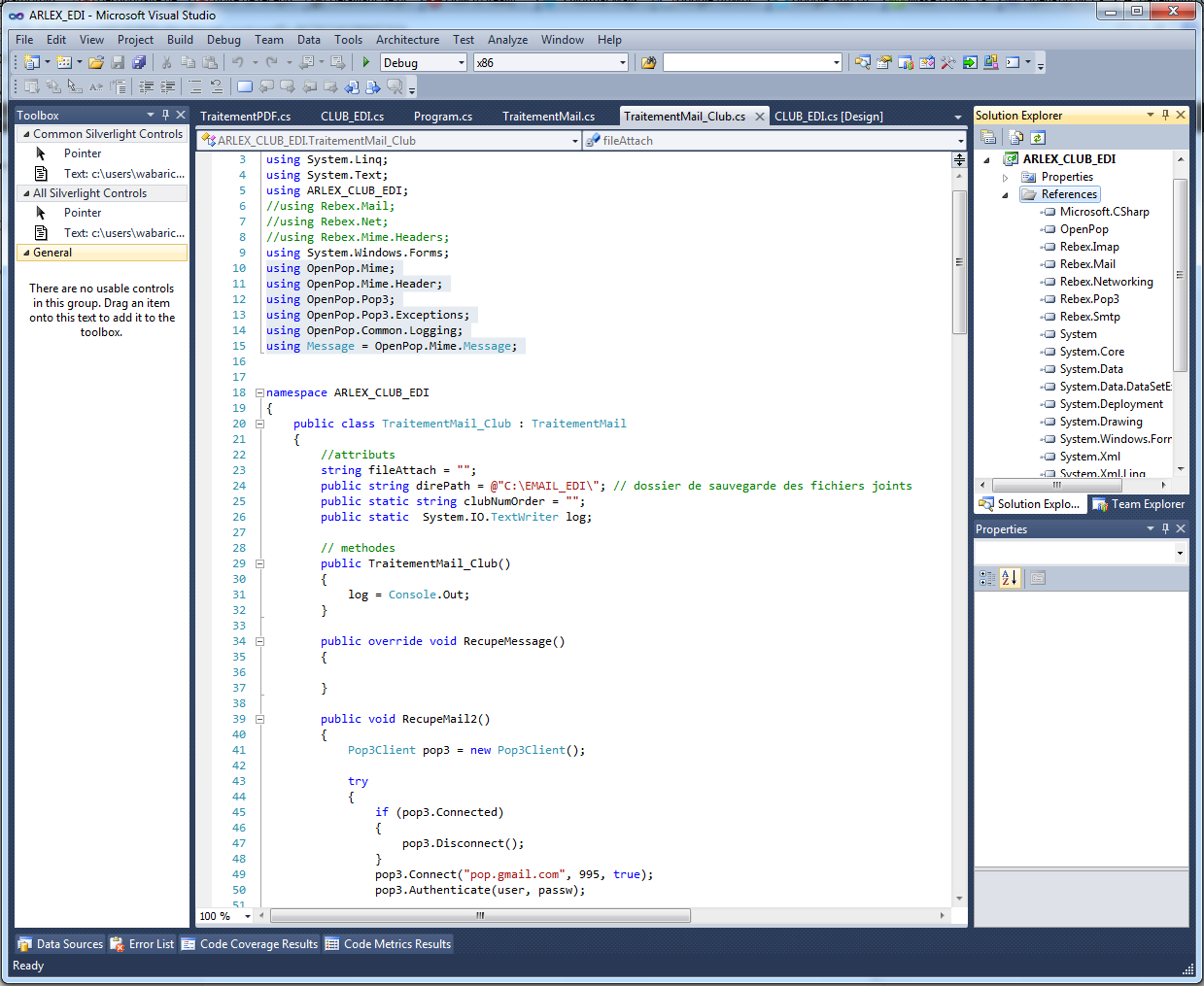openpop.net sous visual studio belgian-droid