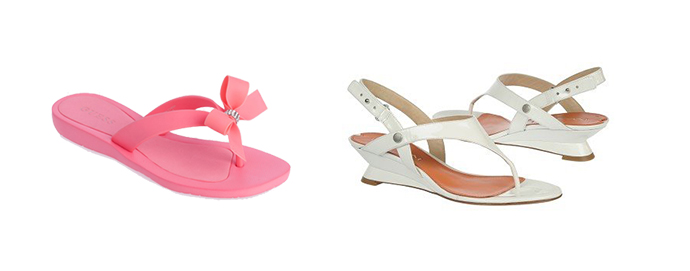 Guess Tutu pink Flip Flops and Via Spiga white Leanne Sandals