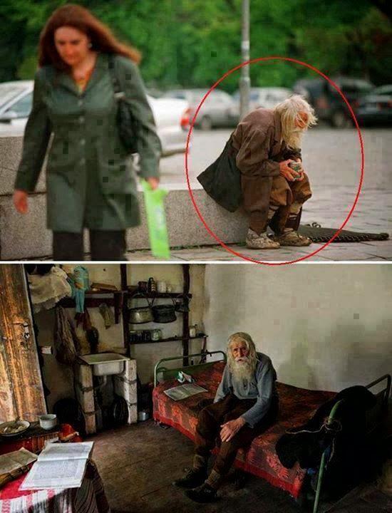 La historia de un mendigo que dona toda su limosna