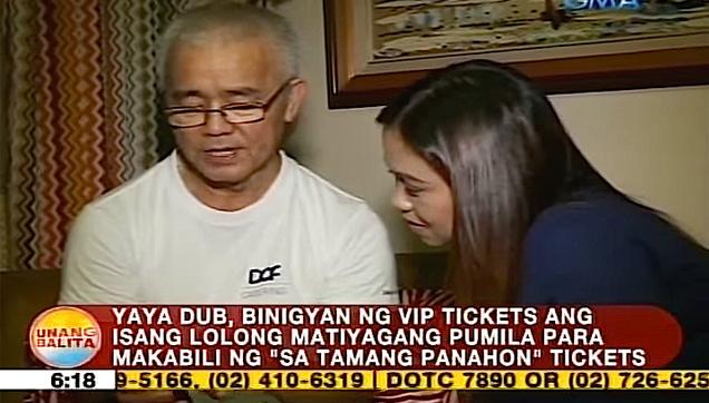 Unnamed Senior Citizen ALDUB fan receives VIP tickets from Maine Mendoza
