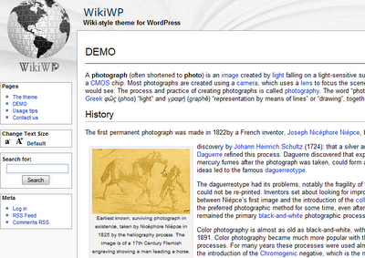 Wikipedia theme for Wordpress