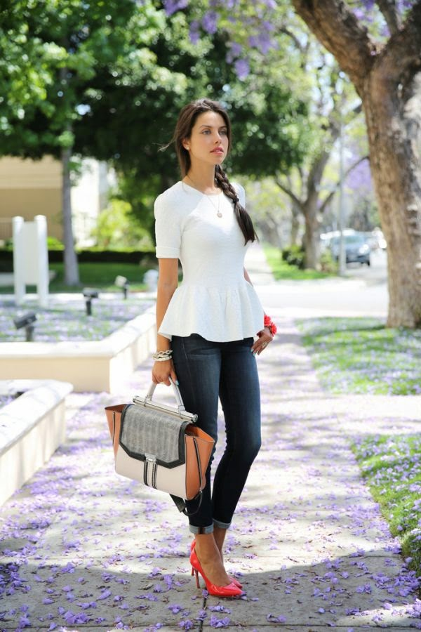Ronny Kobo Peplum Top With Skinny Jeans