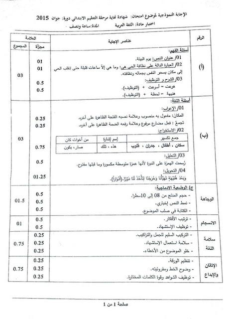 تصحيح موضوع اللغة العربية شهادة التعليم الابتدائي 2015