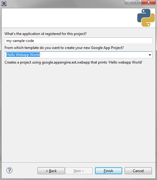 Eclipse Google App Engine Application Id