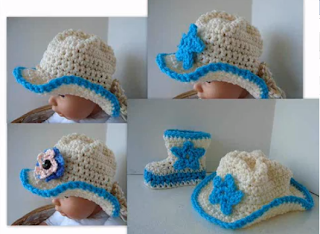 Crochet Baby Cowboy Hat And Boots Pattern Free : Three Crochet Chicks - Patterns!: Crochet Cowboy Hat and ...
