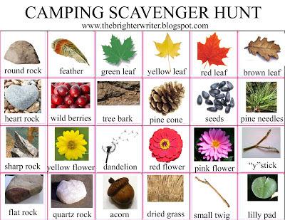 camping scavenger hunt list www.thebrighterwriter.blogspot.com