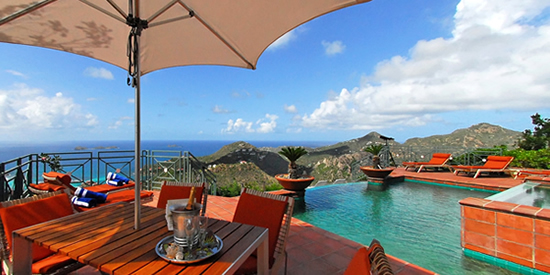 Infinity edge swimming pool and view of St Barth