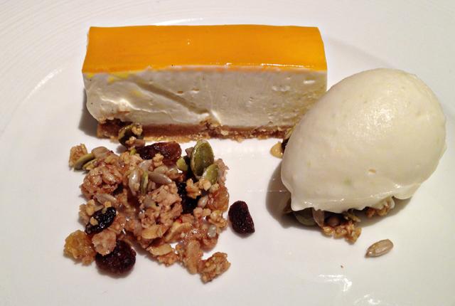 Vanilla Cheesecake, Mango Jelly, Toasted Granola, Creme Fraiche & Lime ...