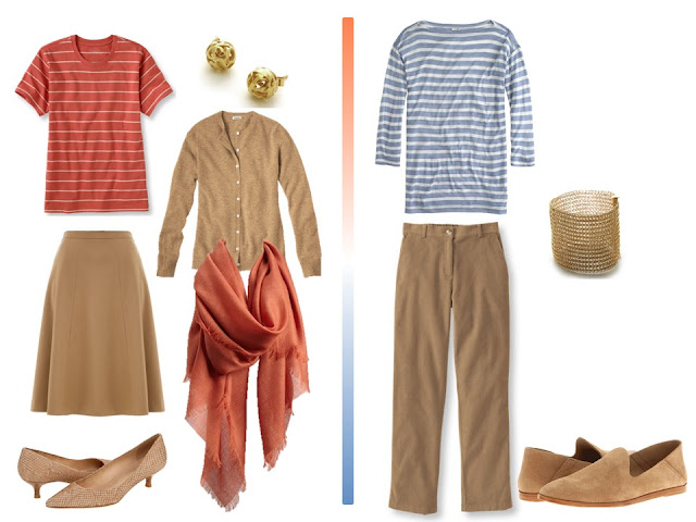 two outfits taken from the travel capsule wardrobe in Camel, Terracotta and Blue