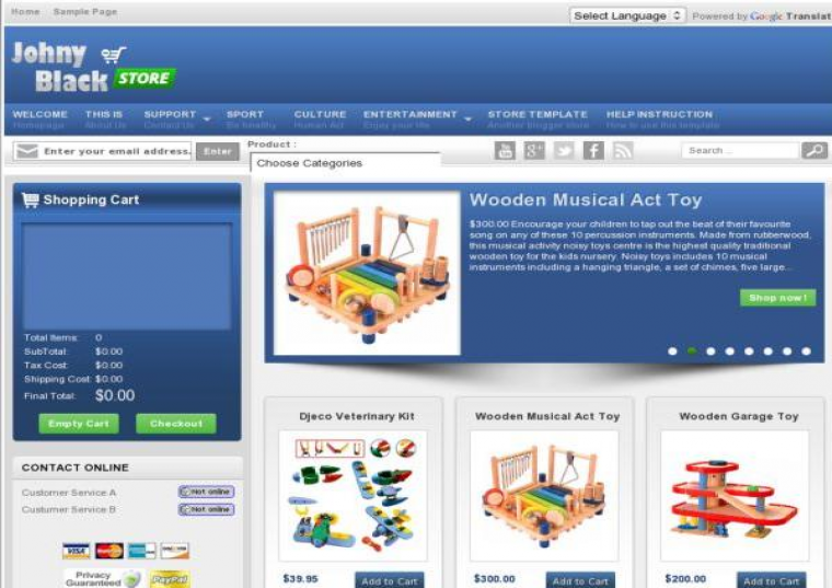 Johny Blackstore Responsive e-shopping Blogger Template Free Download