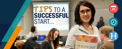 Image of a student looking at camera, holding books.  Sign in back reads: Tips to a successful start...
