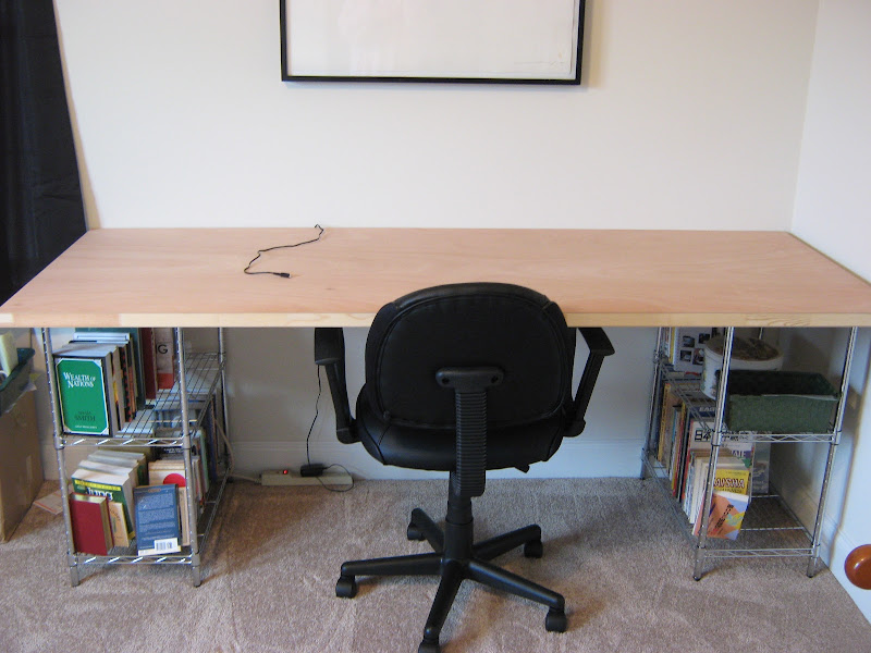 Desk Made with Metal Shelves