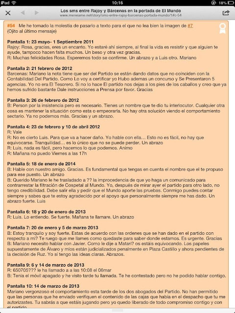Transcripción de los mensajes entre Rajoy y Bárcenas