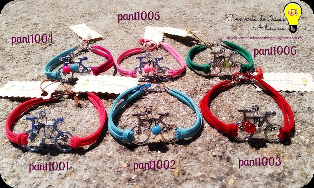 Pulseras de antelina y bicicletas plateadas