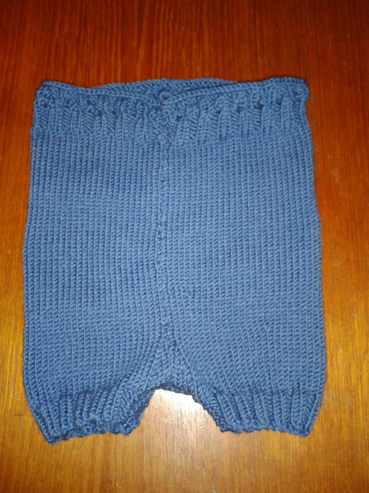 Blue knitted wool nappy cover, shorties