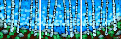 Tiny summer triptych , Aaron Kloss painting, pointillism, acrylic landscape, tiny art