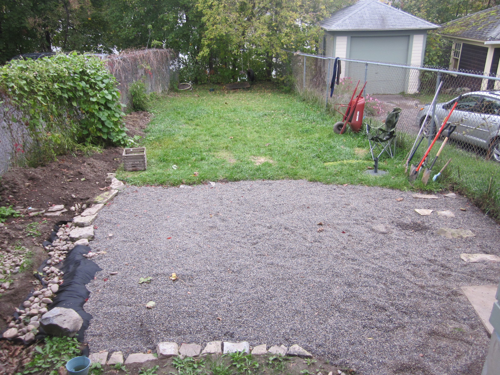 Pea Gravel Backyard For Dogs :  100 year old house renovation Backyard Stage 1 Pea gravel patio