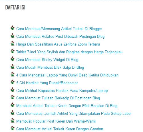 Cara Mudah Membuat Daftar Isi Di Blog