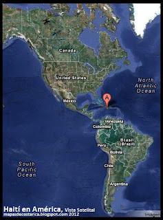 Mapa de Haití en América, Vista Satelital