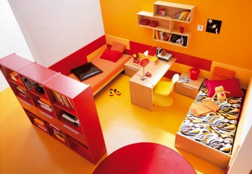 Habitaciones con estilo: dormitorios para adolescentes color naranja