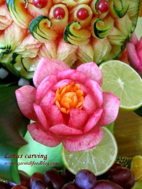 Lotus flower carving in daikon