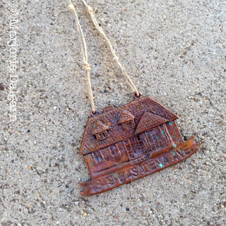 living with ThreeMoonBabies | copper clay house ornament with patina