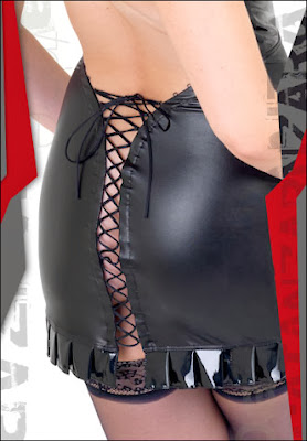 Faux Leather Dress Lace up Skirt Back.... Yum