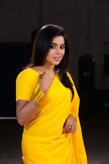 Poorna New Pictures in Yellow saree 015.jpg
